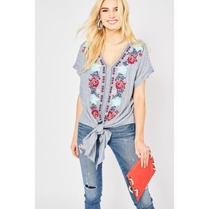 Entro   Striped Floral Embroidered Tie Front Top